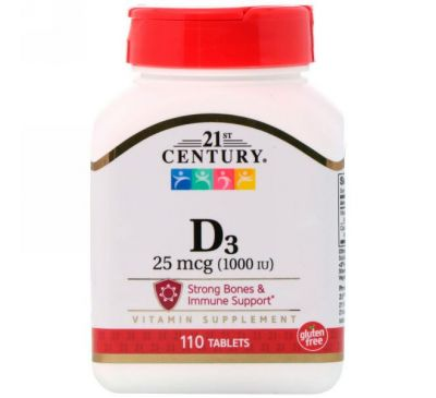 21st Century, D3, 25 мкг (1000 МЕ), 110 таблеток