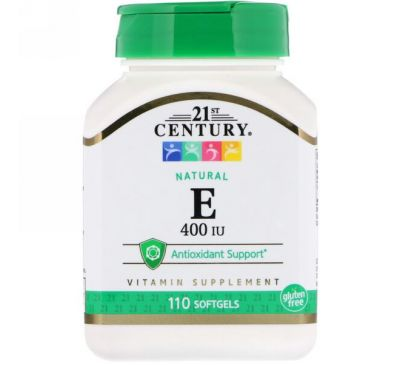 21st Century, E, Natural, 400 IU, 110 Softgels