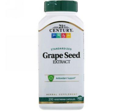 21st Century, Экстракт виноградных косточек, 200 вегетарианских капсул