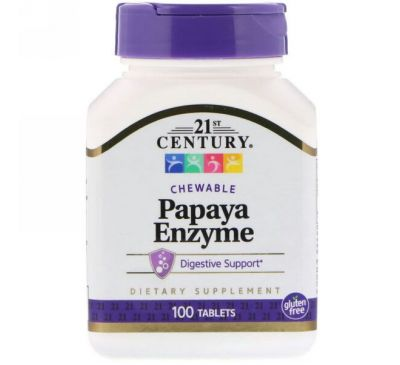 21st Century, Ферменты папайи, 100 жевательных таблеток