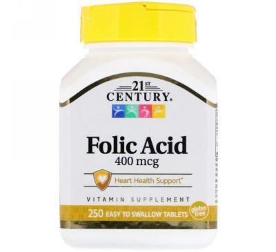 21st Century, Фолиевая кислота, 400 мкг, 250 таблеток