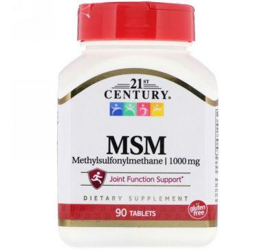 21st Century, МСМ (метилсульфонилметан) максимальной силы, 1000 мг, 90 таблеток