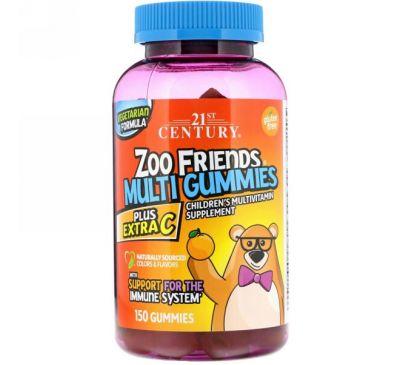 21st Century, Мультивитаминные жевательные таблетки Zoo Friends, Plus Extra C, 150 жевательных таблеток
