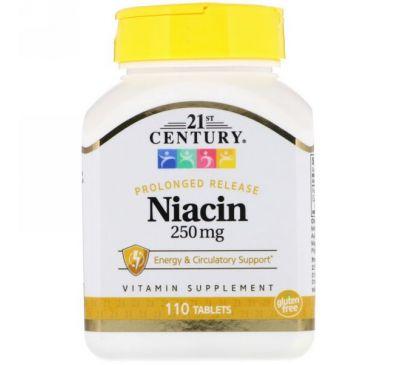 21st Century, Ниацин, 250 мг, 110 таблеток