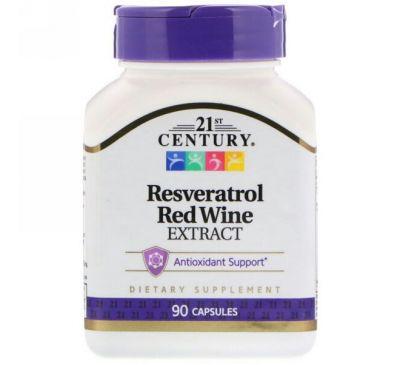 21st Century, Ресвератрол, экстракт красного вина, 90 капсул