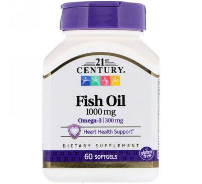 21st Century, Рыбий жир, 1000 мг, 60 мягких таблеток