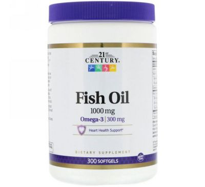 21st Century, Рыбий жир, омега-3, 1000 мг, 300 мягких таблеток