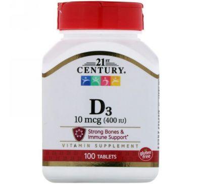 21st Century, Vitamin D3, 400 IU, 100 Tablets