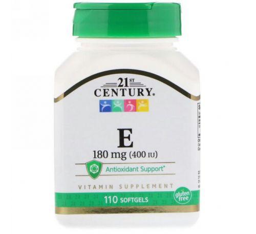 21st Century, Витамин E, 180 мг (400 МЕ), 110 мягких таблеток