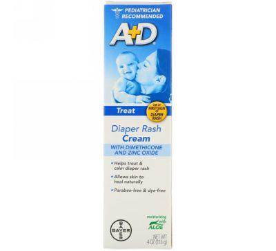A+D, Крем против раздражения от подгузников с диметиконом и оксидом цинка, 4 унции (113 г)