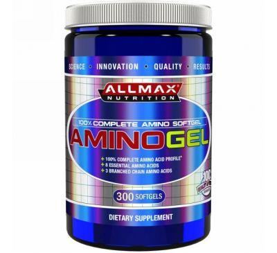 ALLMAX Nutrition, AminoGel, 100%-ный комплексные мягкие капсулы с аминокислотами, 300 мягких капсул
