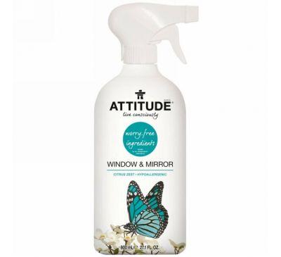 ATTITUDE, Чистящее средство для окон и зеркал, цитрусовая цедра, 27,1 жидкой унции (800 мл)