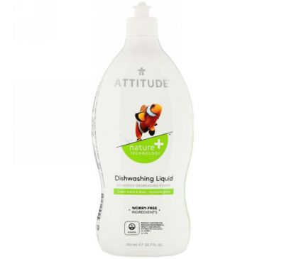 ATTITUDE, Жидкость для мытья посуды, зеленое яблоко и базилик, 23,7 жидкой унции (700 мл)