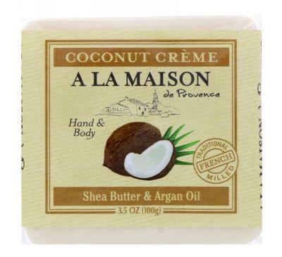 A La Maison de Provence, Кусковое мыло для рук и тела, Кокосовый крем, 3,5 унц. (100 г)