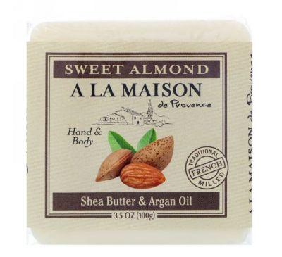 A La Maison de Provence, Кусковое мыло для рук и тела, Сладкий миндаль, 3,5 унции (100 г)