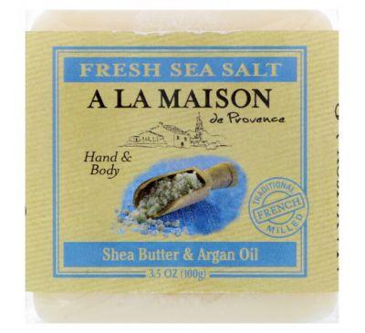 A La Maison de Provence, Кусковое мыло для рук и тела, свежая морская соль, 100 г