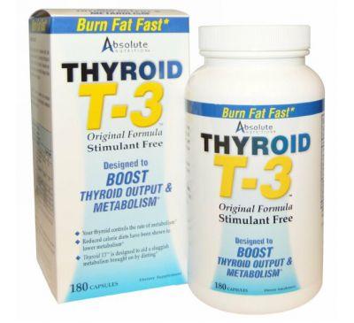 Absolute Nutrition, Щитовидная железа T-3, оригинальная формула, 180 капсул