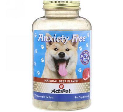 Actipet, Снимает тревожность, вкус натуральной говядины, 90 жевательных таблеток