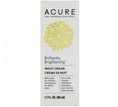 Acure, Блестящий осветляющий ночной крем, 1,7 ж. унц. (50 мл)