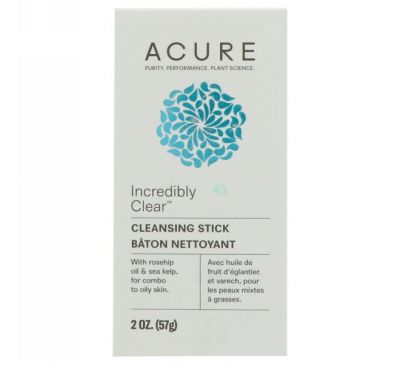 Acure, Incredibly Clear Очищающий стик, 2 унц. (57 г)