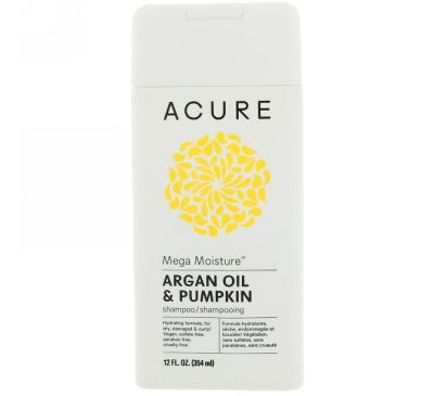Acure, Интенсивно увлажняющий шампунь, аргановое масло и тыква, 12 ж. унц. (354 мл)