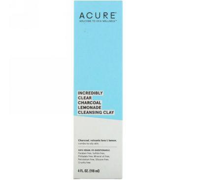 Acure, Невероятное очищение, очищающая глина с активированным углем и лимоном, 4 ж. унц. (118 мл)