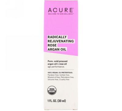 Acure, Оказывает радикальное омолаживающее действие, розовое и аргановое масла, 1 ж. унц. (30 мл)