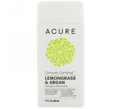 Acure, Шампунь Curiously Clarifying, померанцевая трава и аргана, 12 ж. унц. (354 мл)