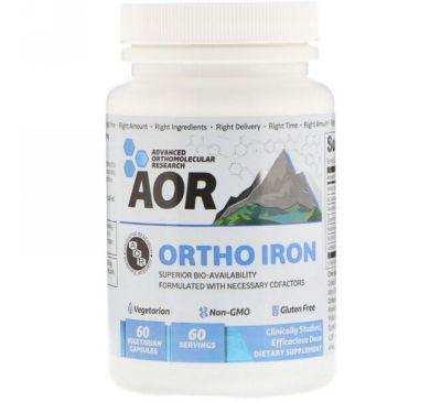 Advanced Orthomolecular Research AOR, Ортомолекулярное железо, 60 вегетарианских капсул