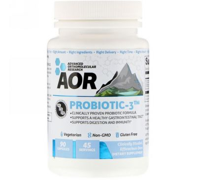 Advanced Orthomolecular Research AOR, Probiotic-3, 90 капсул