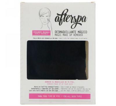 AfterSpa, Волшебная многоразовая салфетка для снятия макияжа, черная, 1 салфетка