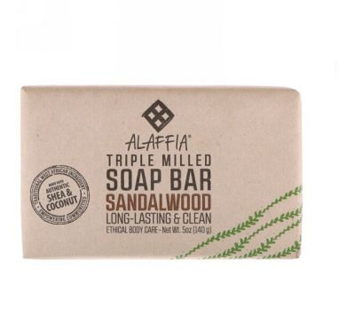 Alaffia, Triple Milled Soap Bar, Sandalwood, 5 oz (140 g)