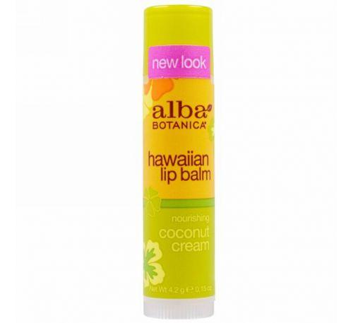 Alba Botanica, Гавайский бальзам для губ, питательный кокосовый крем, 4,2 г