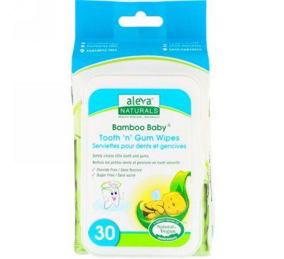 Aleva Naturals, Влажные салфетки Bamboo Baby для зубок и десен, 30 влажных салфеток, 5,9 x 7,9 дюймов (15 x 20 см)