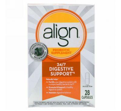 Align Probiotics, Поддержка пищеварения 24/7, пробиотическая добавка, 28 капсул
