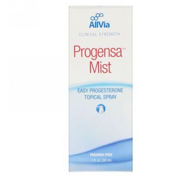 AllVia, Progensa Mist, Легкий в применении точечный спрей с прогестероном, 1 унц. (30 мл)