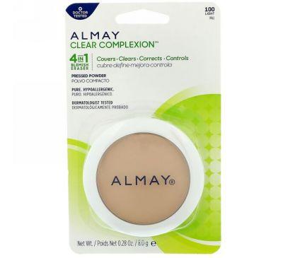 Almay, Пресованная пудра Clear Complexion, 100, светлая, 0,28 унц. (8 г)