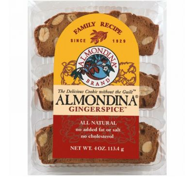Almondina, Gingerspice, миндаль и имбирное печенье, 4 унции (113 г)