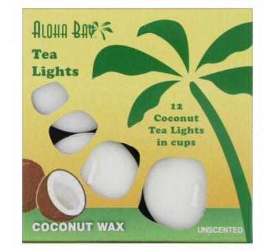 Aloha Bay, Восковые кокосовые свечи, чайные огоньки, без запаха, белые, 12 шт.