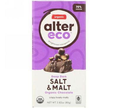 Alter Eco, Organic Chocolate Bar, Deep Dark Salt & Malt, 2.82 oz (80 g)