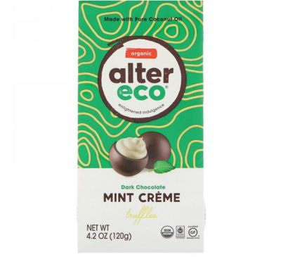 Alter Eco, Organic Mint Creme Truffles, Dark Chocolate, 4.2 oz (120 g)