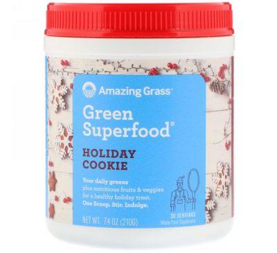 """Amazing Grass, Green Superfood, смесь """"Праздничное печенье"""", 7,4 унц. (210 г)"""