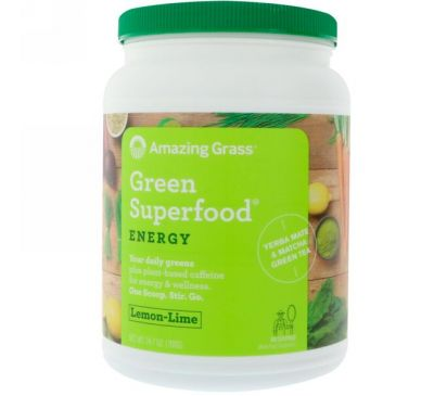 Amazing Grass, Зеленая чудо-пища, энергия, лимон и лайм, 24,7 унц. (700 г)