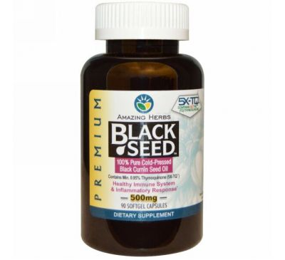 Amazing Herbs, Black Seed, 500 мг, 90 гелевых капсул