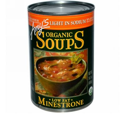 Amy's, Органические супы, Минестроне с низким содержанием жира, пониженное содержание натрия, 400 г