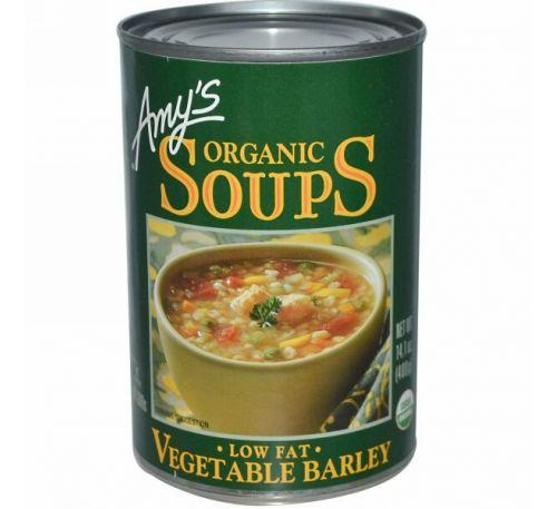 Amy's, Органические супы, Овощной ячмень, обезжиренный 14.1 унции (400 г)