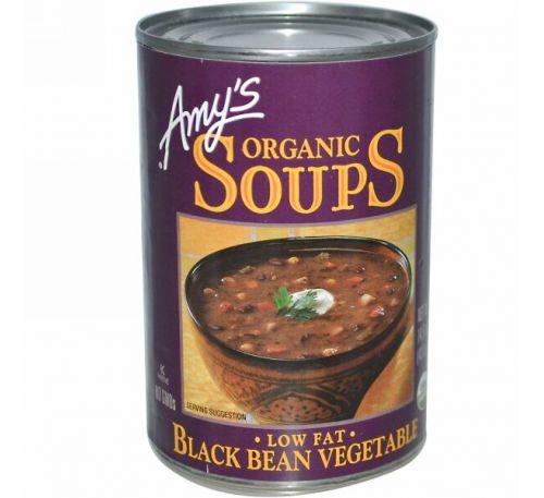 Amy's, Органические супы, черная фасоль и овощи с низким содержанием жира, 14,5 унции (411 г)
