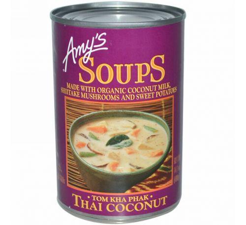 Amy's, Супы, Tom Kha Phak, Тайский кокос, 14,1 унций (400 г),