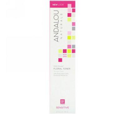 Andalou Naturals, Цветочный тоник для чувствительной кожи лица, 1000  роз, 6 жидких унций (178 мл)