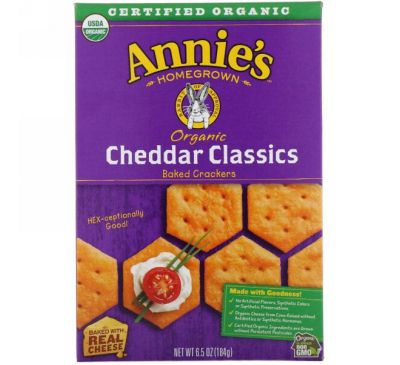 Annie's Homegrown, Organic Baked Crackers, Cheddar Classics, 6.5 oz (184 g)